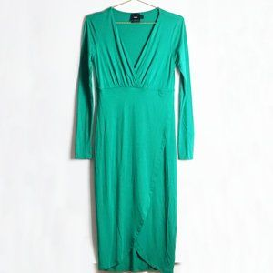 ASOS Maternity V-Neck Long Sleeve Dress in Green